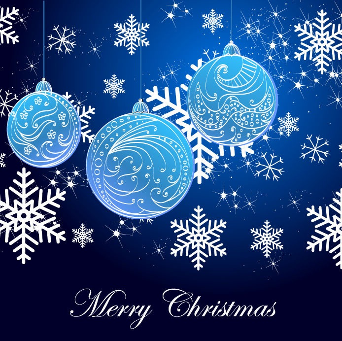 Snowflake-Background-and-Blue-Christmas-Balls
