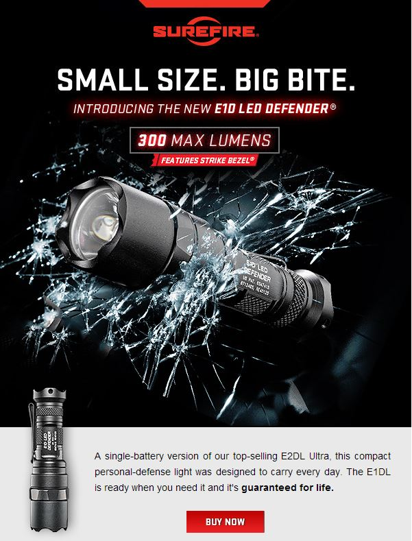 SureFire 300-Lumen E1DL flashlight