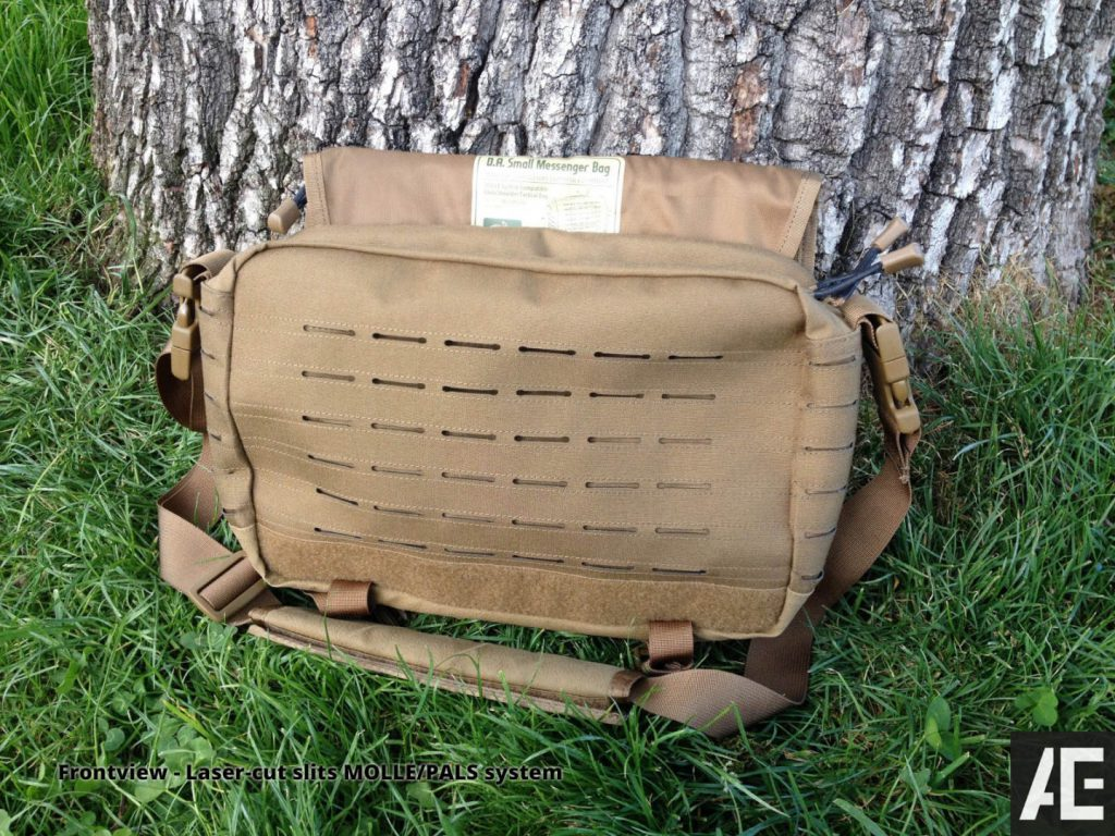 Direct Action Messenger Bag Review Helikon - Front View - Laser-cut slits MOLLE PALS system