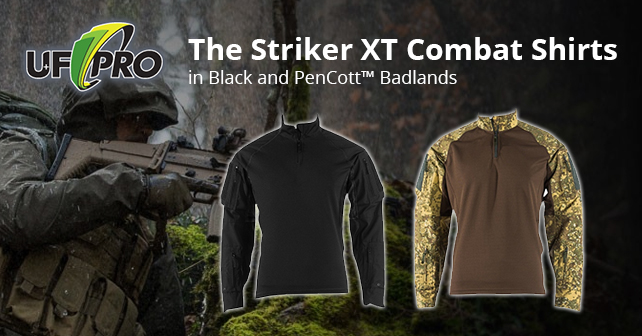 UF PRO STRIKER XT COMBAT SHIRT now available in Badlands and Black